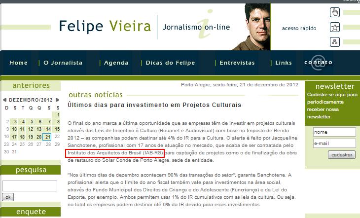 Felipe Vieira 21.12.12 - Notícias - Projetos Culturais